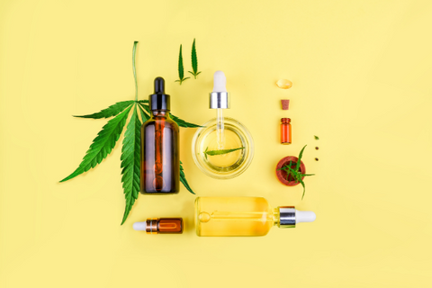 Various types of CBD products, which can be bought online and shipped to Mississippi