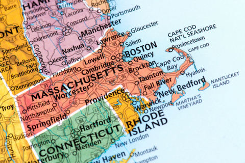 A map showing Massachusetts and surrounding states