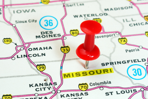 A map with a pin marking Missouri