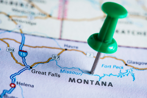 A map with a push pin marking Montana