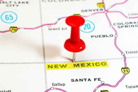 A map showing New Mexico and surrounding states