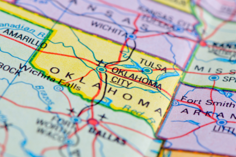 A map of Oklahoma and surrounding states.