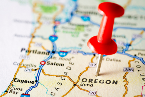 A map showing Oregon and surrounding states.