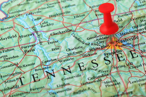 A map with a thumb tack marking Tennessee