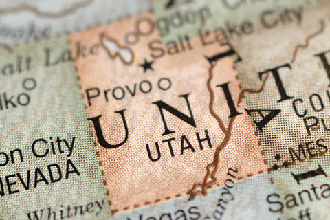 A map showing Utah and surrounding states