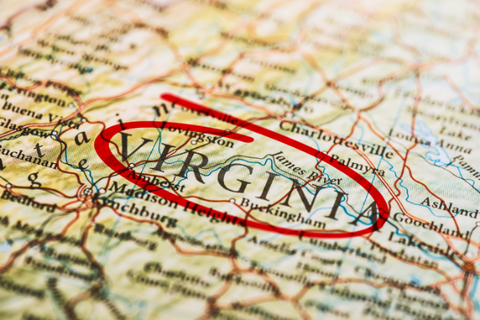 A map with Virginia circled in red ink