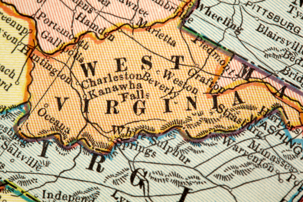 A map showing West Virginia and surrounding states