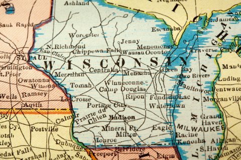 A map showing Wisconsin and surrounding states