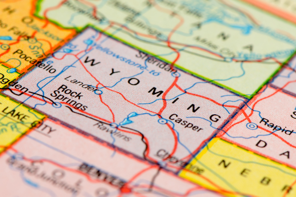 A map showing Wyoming and surrounding states