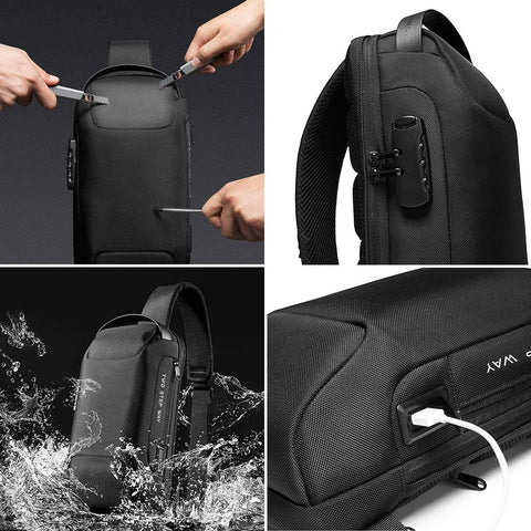 Waterproof Sling Bag With Anti-theft Lock Unisex