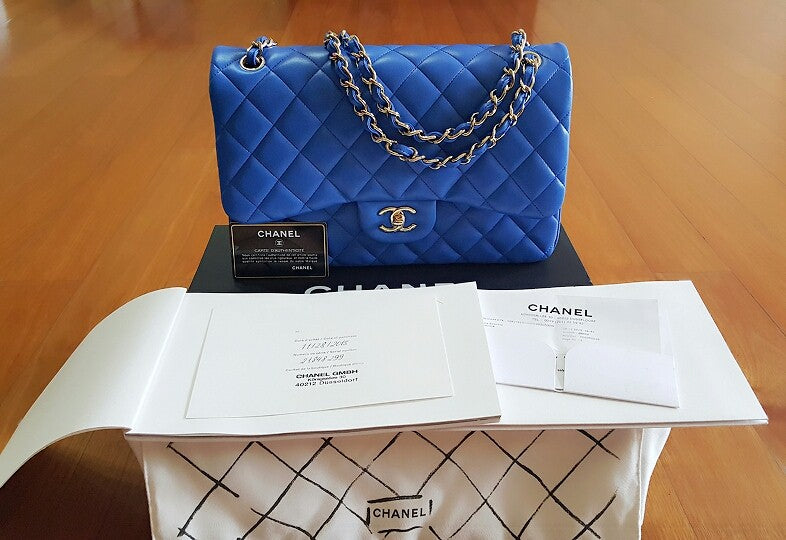 BNIB Chanel Jumbo Blue Electric Lambskin Light gold chain - Tuquh