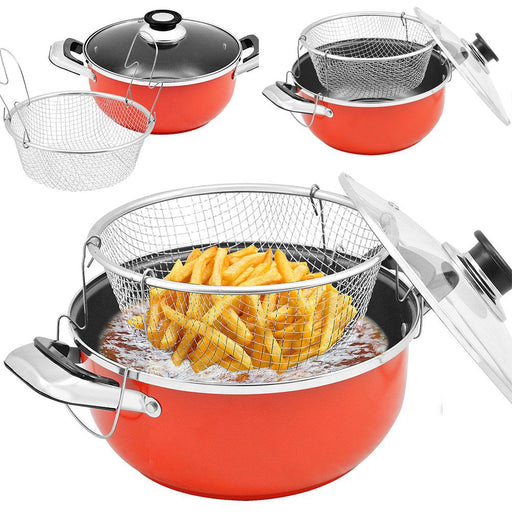 Teflon Serbaguna Dengan Household Fryer With Basket Practical Cookware - Tuquh