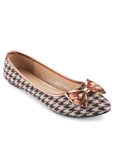 Something Borrowed Houndstooth Print Ballerina Flat With Ribbon - Tuquh