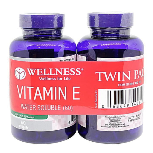 Wellness Natural Vitamin E 400 IU Water Soluble 60 Tablets - Tuquh
