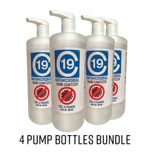C19 Antimicrobial Hand Sanitizer Gel 70% Ethanol Quart (32oz) Pump - 4 Bottle Bundle