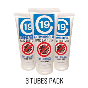 C19 Antimicrobial Hand Sanitizer Gel 70% Ethanol 3oz tube - 3 pack