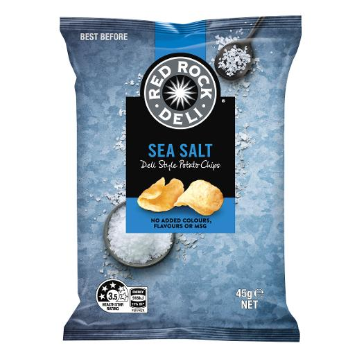 Chips Sea Salt 45gm x 18 Red Rock Deli