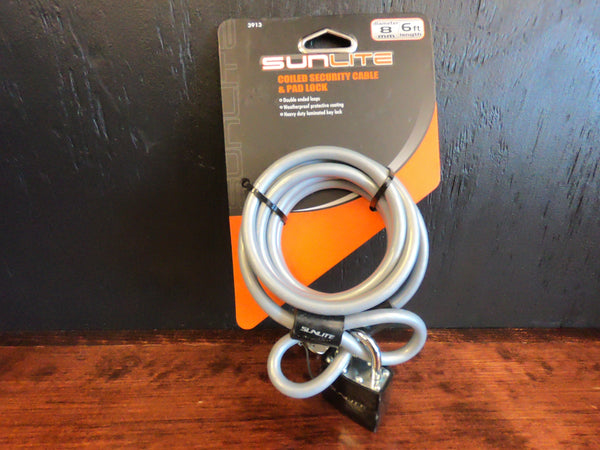 Sunlite coiled security cable & pad lock