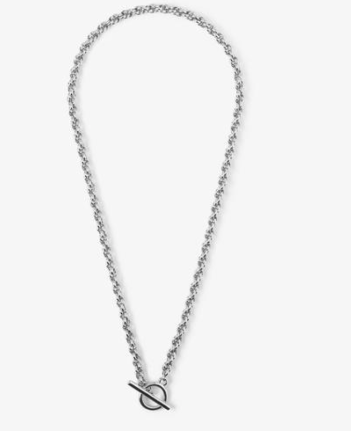 CHUNKY ROPE CHAIN T-BAR NECKLACE - SILVER
