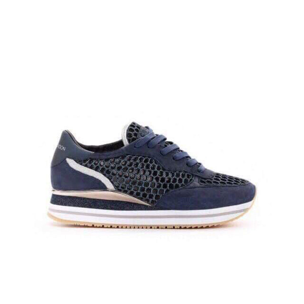 Sneakers mit Plateau in Blau