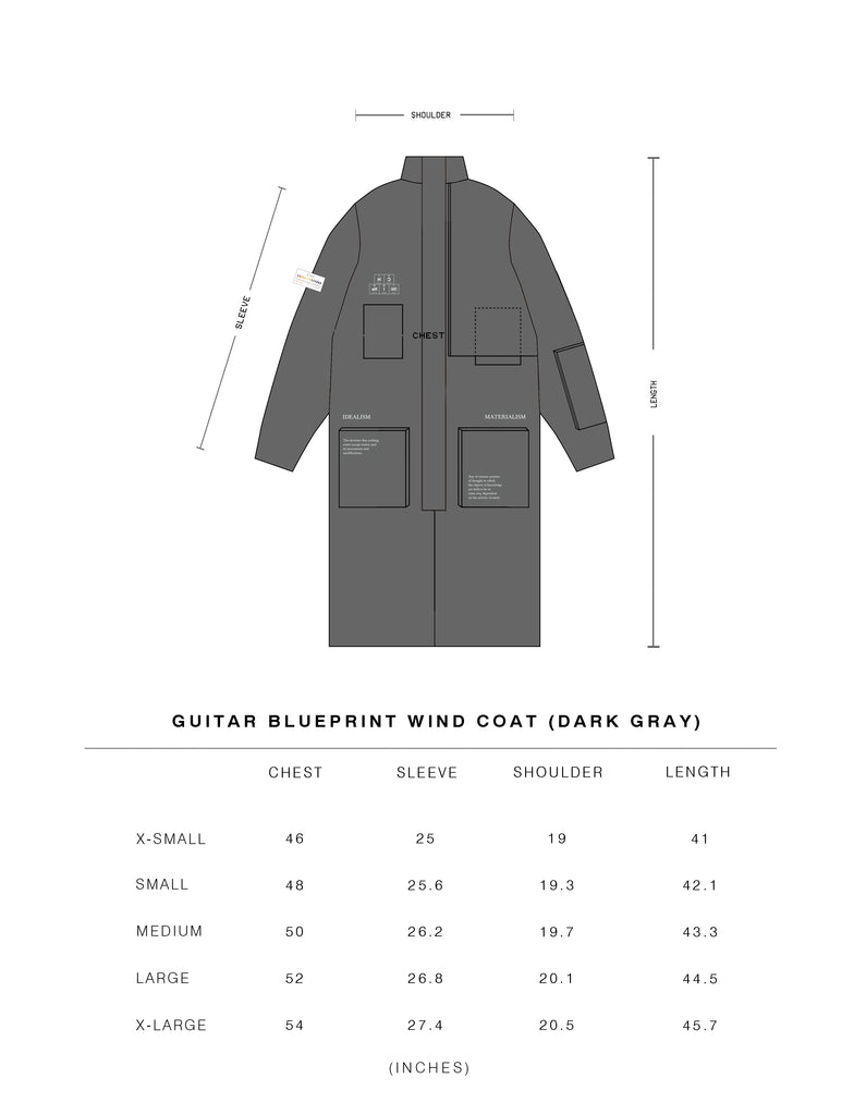 C2h4 x number nine guitar blueprint wind coat c2h4 los angeles utility exterior pocket at right sleeve left chest with zip flap patch pocket under the flap collection tag stitched at left sleeve tonal stitching malvernweather Gallery