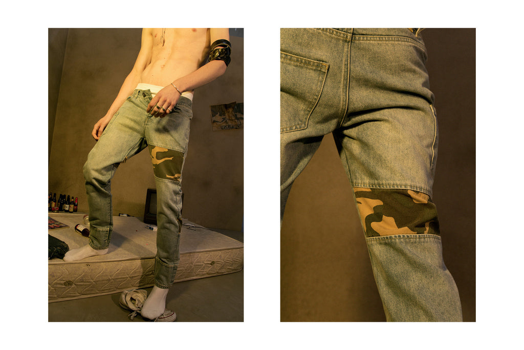 "17SS ""SOUR BULLET"" CAMO PATCHWORK STONEWASHED JEANS"