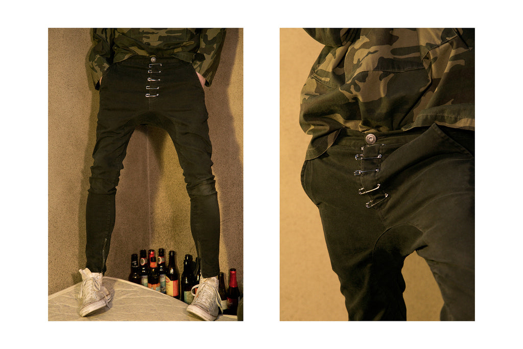 "17SS ""SOUR BULLET"" PINNED DROP-CROTCH ZIPPER PANTS"