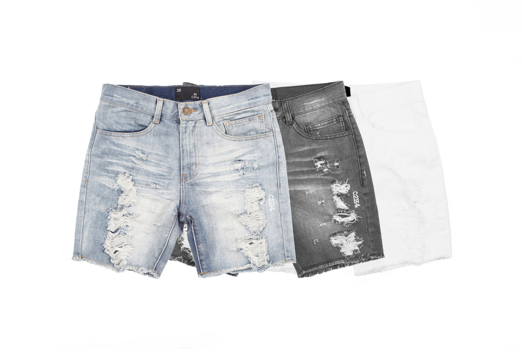 "15SS ""NOT A HUMAN"" DISTRESSED DENIM SHORTS"