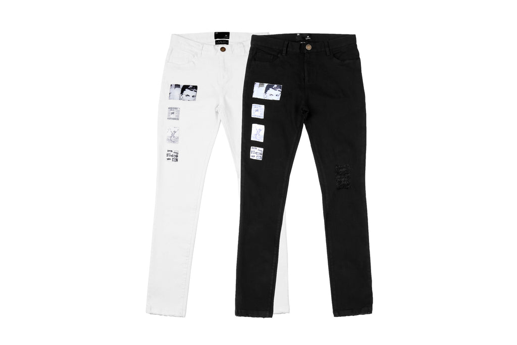 "15FW ""AGAINST ALL AUTHORITY"" POSTER PATCH JEANS"