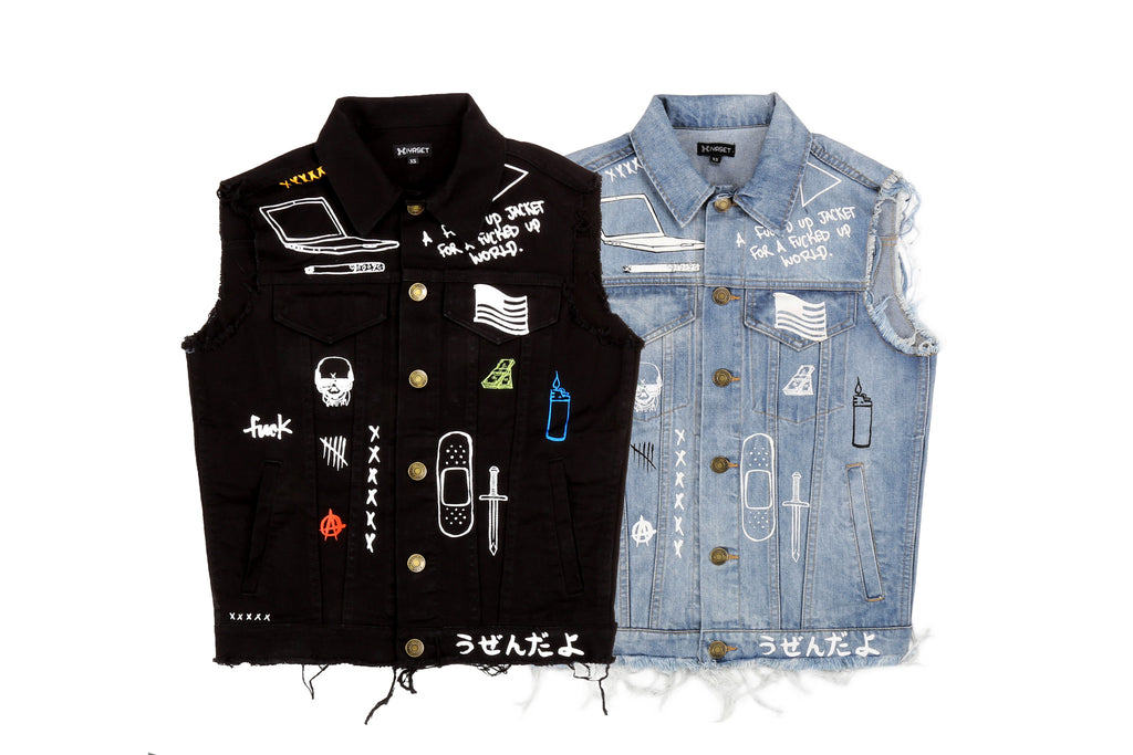 """C2H4 x HIYASET"" GRAFFITI DENIM VEST"