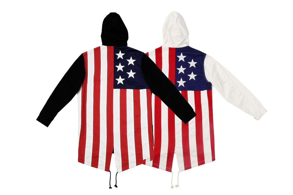 "15FW ""AGAINST ALL AUTHORITY"" 3M AMERICAN FLAG FISHTAIL JACKET"