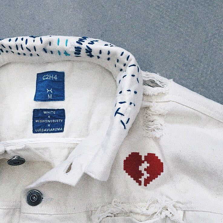 C2H4 x LUISAVIAROMA x WHITE x HIGHSNOBIETY EMBRIODERED DENIM JACKET