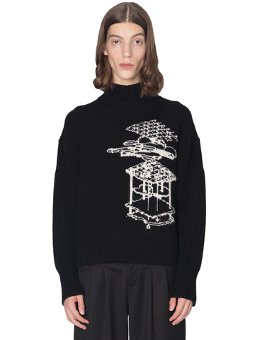 """Post Human Era"" ORPA Panelled Turtleneck Sweater"