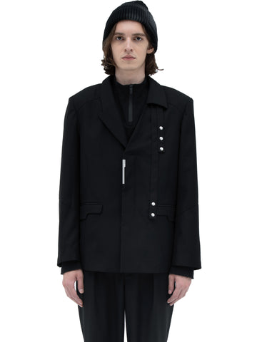 """Filtered Reality"" Asymmetrical Lapel Tailored Jacket"