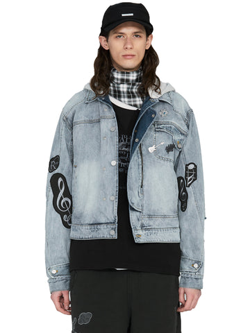 """My Own Private Planet"" Asymmetrical Layered Denim Jacket"