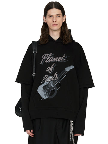 """My Own Private Planet"" ""Grunge Guitar"" Double Layer Hoodie"