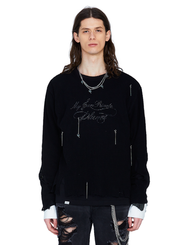 """My Own Private Planet"" Distressed Knit Meshing Layered Long-Sleeve T-shirt"