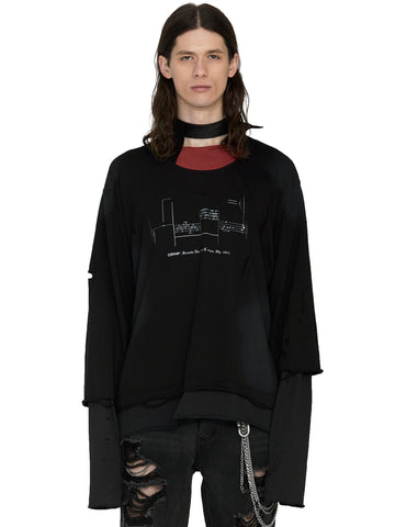 """My Own Private Planet"" Panelled Distressed Double Layer Long-Sleeve T-shirt"