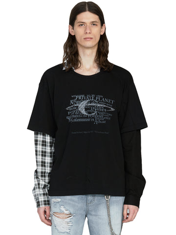 """My Own Private Planet"" ""Grunge Guitar"" Double Layer Long-Sleeve Shirt"