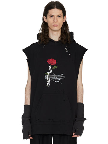 """My Own Private Planet"" ""Rose On Score"" Distressed Sleeveless Hoodie"