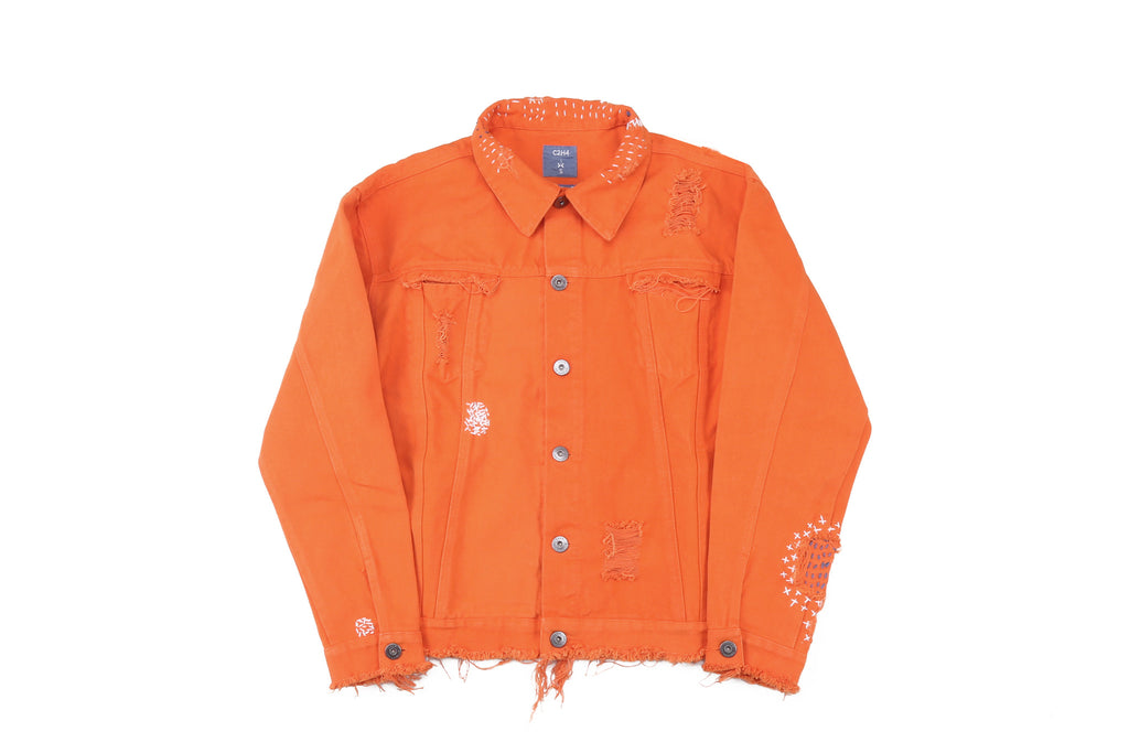 "16FW ""NO CHILL"" ORANGE DISTRESSED DENIM JACKET"