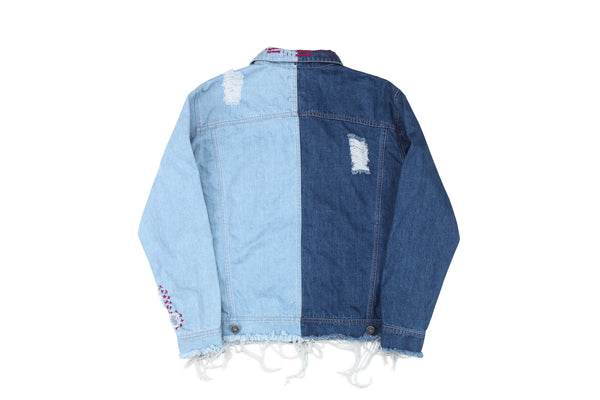 "16FW ""NO CHILL"" CONTRAST DISTRESSED DENIM JACKET"