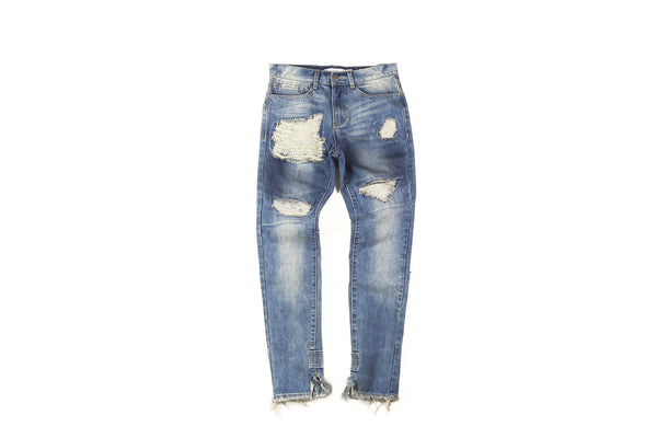 "16FW ""NO CHILL"" HEAVY DISTRESSED STONEWASHED JEANS"