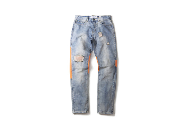 "16FW ""NO CHILL"" TRIANGLE PATCHWORK JEANS"