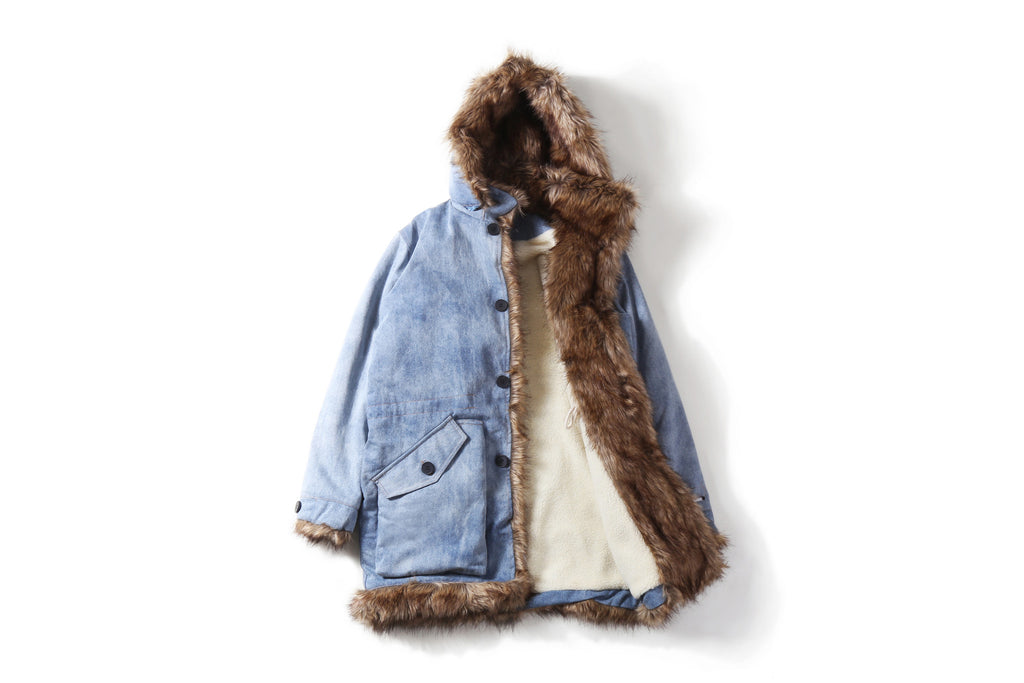 "16FW ""NO CHILL"" DENIM FUR TRENCH COAT"