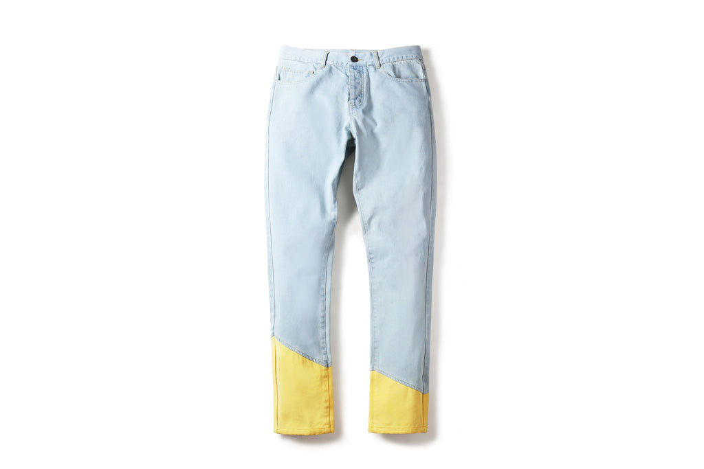 "17SS ""SOUR BULLET"" RECONSTRUCT LEG LIGHT WASHED JEANS"