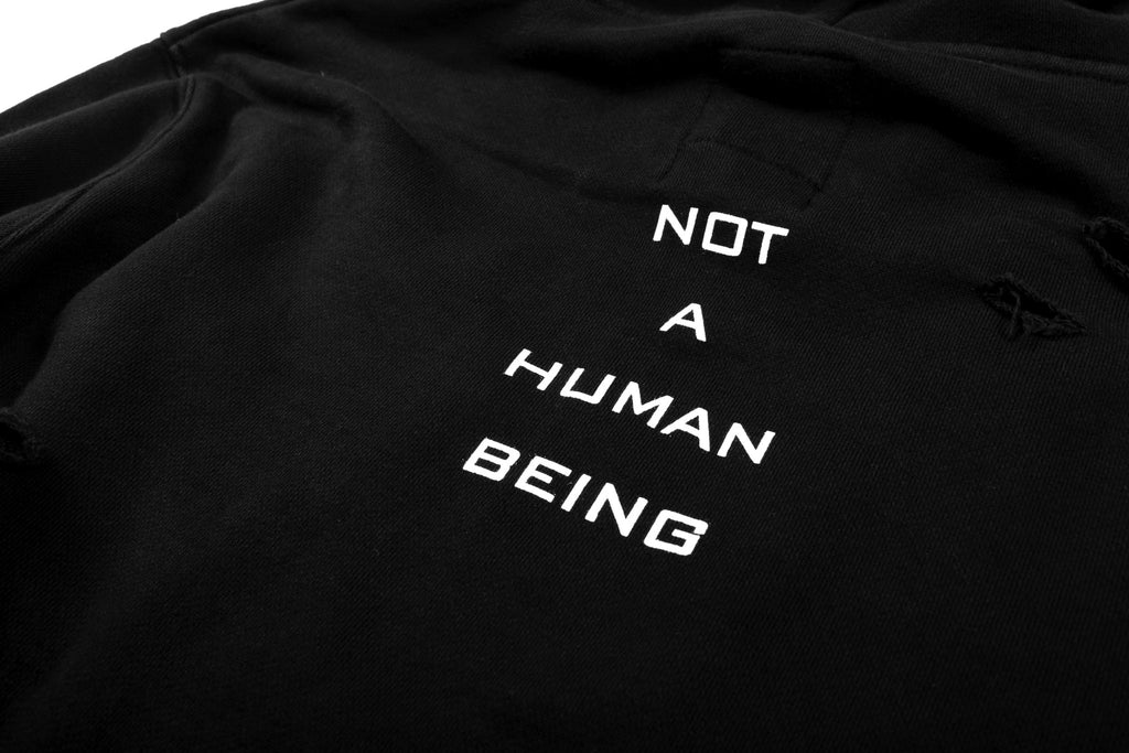 "15SS ""NOT A HUMAN"" SAINT DESTROYED HOODIE"