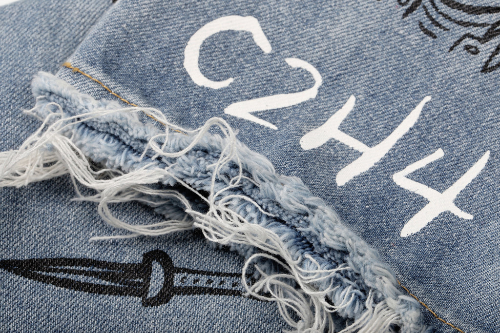 """C2H4 x HIYASET"" GRAFFITI DESTROYED JEANS"