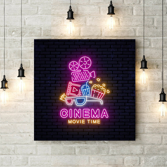 Bright Neon Sign Poster Cinema Wall Art Canvas Art Decor