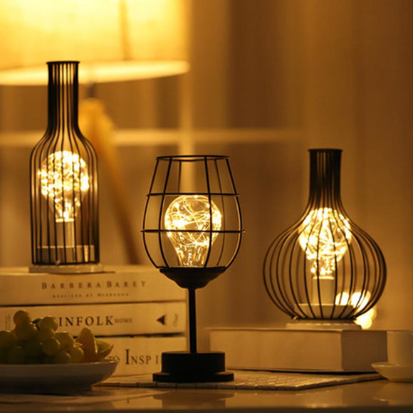 Retro Iron Table Lamp Winebottle Copper Wire Night Light Creative Hotel Home Decoration